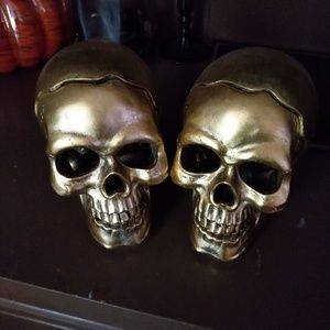 Gold skull candle holders